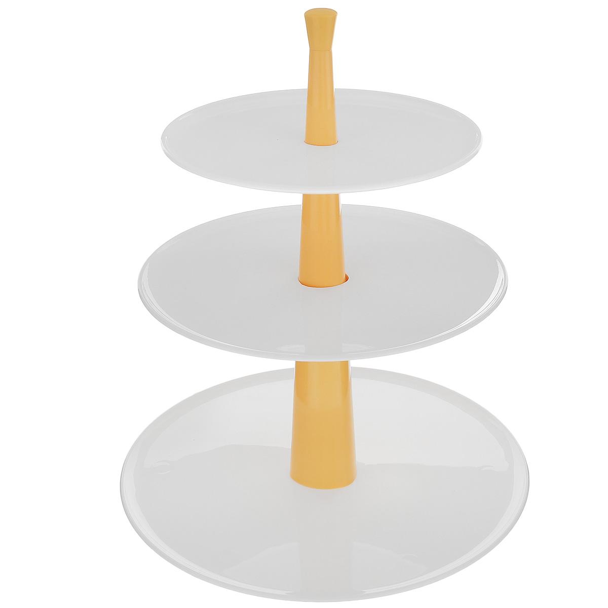 Этажерка для закусок и десертов Tescoma Delicia, трехъярусная, цвет: белый, желтый, высота 30 см630728Трехъярусная этажерка Tescoma Delicia идеально подходит для стильной сервировки сладостей, десертов, закусок и т.д. Этажерку легко собрать и разобрать, она удобна для хранения. Состоит из превосходных устойчивых пластиковых плоских блюд, которые можно мыть в посудомоечной машине. Стержень мыть в посудомоечной машине нельзя. Высота этажерки: 30 см. Диаметр блюд: 17,5 см, 21 см, 26 см.