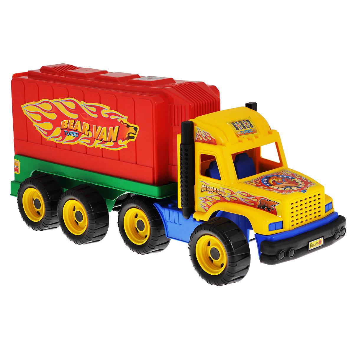 Bauer Грузовик Медведь цвет кабины желтый166Яркий грузовик Bauer Медведь, изготовленный из прочного безопасного пластика, отлично подойдет ребенку для различных игр. Машинка оборудована вместительным открывающимся кузовом и двумя выхлопными трубами. Кузов отсоединяется. Восемь больших колес со свободным ходом и крупным протектором обеспечивают грузовику устойчивость и хорошую проходимость. Кабина и кузов оформлены яркими наклейками. С таким грузовиком ваш ребенок сможет прекрасно провести время дома или на улице, придумывая различные истории.