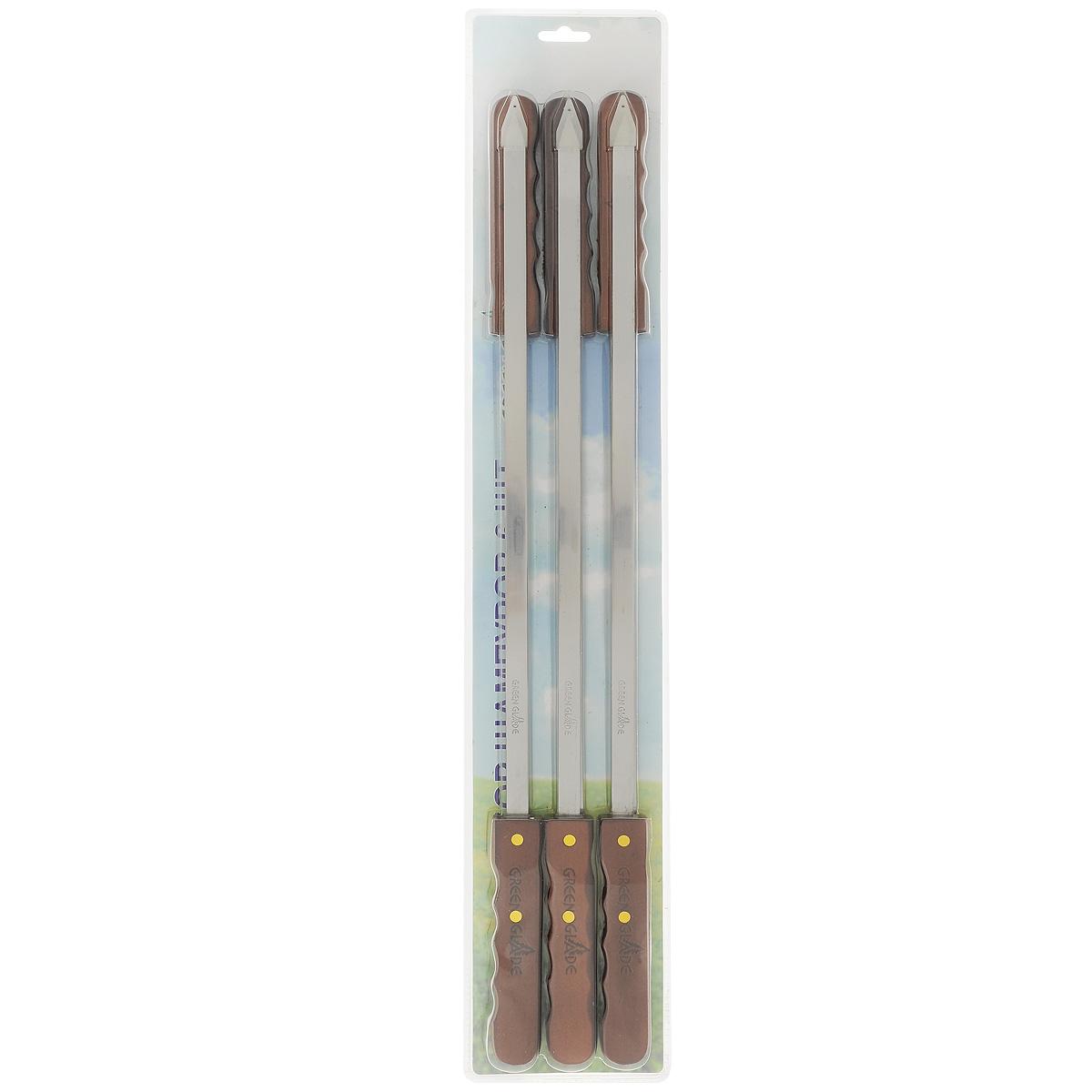 Набор шампуров Green Glade, длина 60 см, 6 шт5091Набор Green Glade состоит из 6 шампуров, предназначенных для приготовления шашлыка. Лезвия выполнены из высококачественной пищевой нержавеющей стали, а рукоятки изготовлены из дерева. Функциональный и качественный набор шампуров поможет вам в приготовлении вкусного шашлыка. Длина шампура: 60 см. Ширина лезвия: 1 см. Толщина лезвия: 0,15 см. Комплектация: 6 шт.