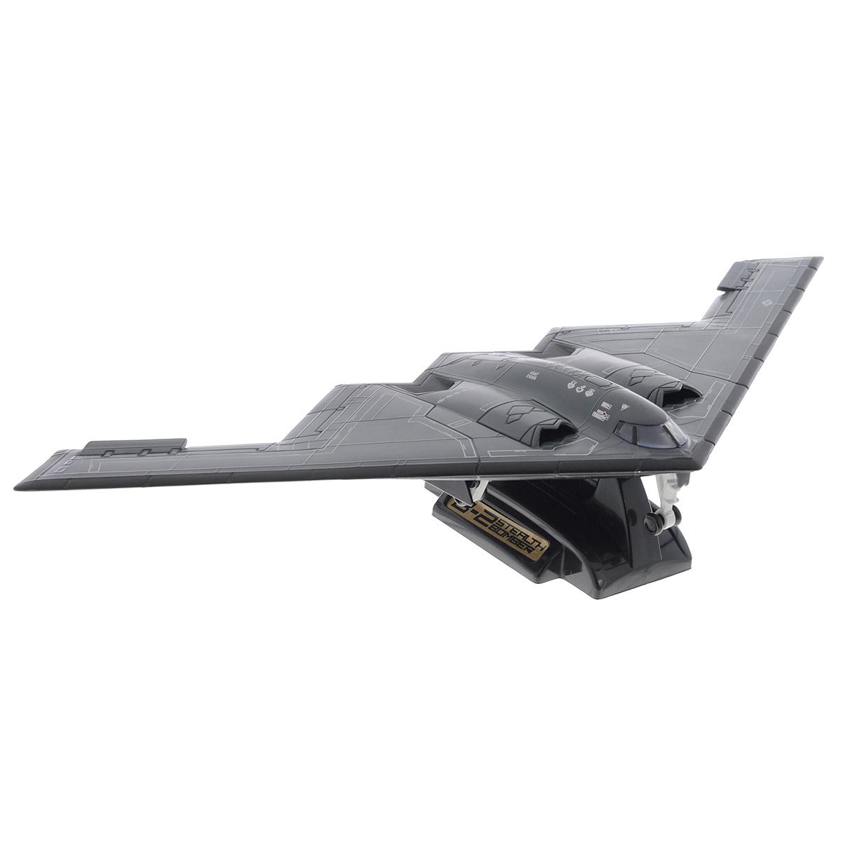MotorMax Самолет Northrop Grumman B-2 Spirit76382Коллекционная модель MotorMax Northrop Grumman B-2 Spirit порадует каждого ценителя моделей авиационной техники. Модель, выполненная в масштабе 1/144, станет хорошим дополнением к любой коллекции. Самолет изготовлен из прочного пластика, поэтому может использоваться и как обычная игрушка. Модель досконально приближена к своему прототипу. Стоит также обратить внимание на проработанную детализацию модели. Самолет расположен на пластиковой подставке. Шасси самолета убираются. B-2 Spirit - это современный тяжёлый малозаметный стратегический бомбардировщик, состоящий на службе ВВС США. Такая модель станет отличным подарком не только любителю авиационной техники, но и человеку, ценящему оригинальность и изысканность, а качество исполнения представит такой подарок в самом лучшем свете.