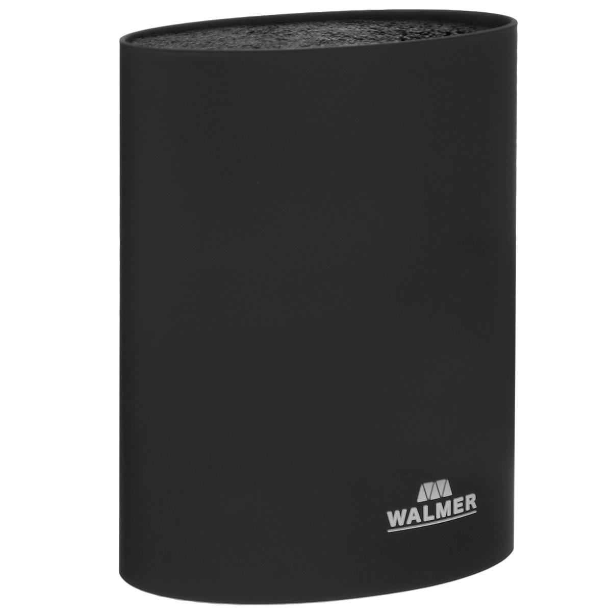 Подставка для ножей Walmer, овальная, цвет: черный, высота 22 смW080022201Подставка для ножей Walmer представляет собой емкость с гибкими пластиковыми стержнями внутри. Это позволяет хранить ножи любой формы, вне зависимости от их размеров или формы среза. Размещайте ножи в любом месте блока-подставки, просто воткнув их в нее. Вы также можете комбинировать ножи из разных наборов. Подставка сохранит остроту ножей за счет того, что ножи не царапаются об нее. Эта легкая, безопасная и удобная подставка послужит прекрасным подарком. Можно мыть в посудомоечной машине. Размер подставки: 16 см х 7 см х 22 см.
