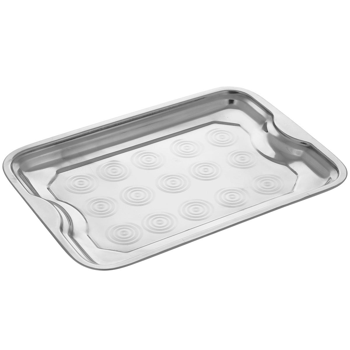 Поднос Padia, 37,5 см х 27 см5400-30Прямоугольный поднос Padia выполнен из серебряно-нержавеющей стали. Он отлично подойдет для красивой сервировки различных блюд, закусок и фруктов на праздничном столе. Благодаря двум ручкам поднос с легкостью можно переносить с места на место. Поднос Padia займет достойное место на вашей кухне. Размер подноса: 37,5 см х 27 см х 2,5 см.