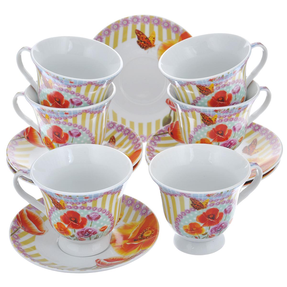Набор чайный Korall Маки, 12 предметов804488Чайный набор Korall Маки состоит из шести чашек и шести блюдец. Предметы набора, изготовленные из высококачественного фарфора, украшены красочным изображением маков. Элегантный дизайн набора придется по вкусу и ценителям классики, и тем, кто предпочитает утонченность и изысканность. Он настроит на позитивный лад и подарит хорошее настроение с самого утра. Изделия упакованы в круглую подарочную коробку, задрапированную атласной тканью. Чайный набор Korall Маки - идеальный и необходимый подарок для вашего дома и для ваших друзей в праздники, юбилеи и торжества. Объем чашки: 220 мл. Диаметр чашки (по верхнему краю): 9 см. Диаметр основания: 4,9 см. Высота чашки: 8 см. Диаметр блюдца: 14 см.