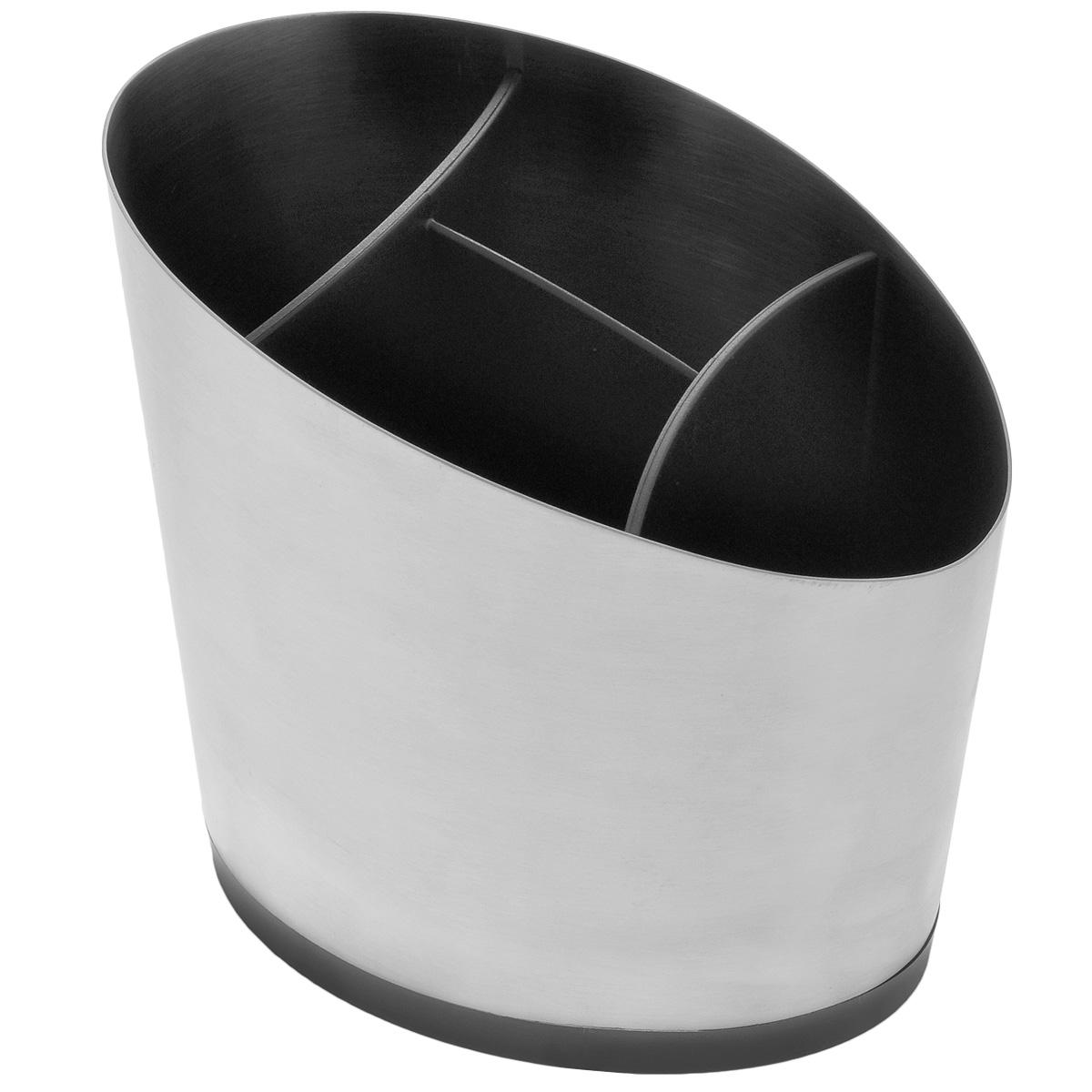 Сушилка для кухонной утвари Tescoma President639079Роскошная сушилка для кухонной утвари Tescoma President подходит для сушки и хранения кухонной утвари, столовых приборов и т.д. Изготовлена из высококачественной нержавеющей стали с матовой полировкой и прочной пластмассы. Пластиковый вкладыш содержит 4 секции для удобного раздельного хранения, дно оснащено специальными отверстиями, через которые вода стекает вниз. Разборная конструкция для легкой очистки. Можно мыть в посудомоечной машине.