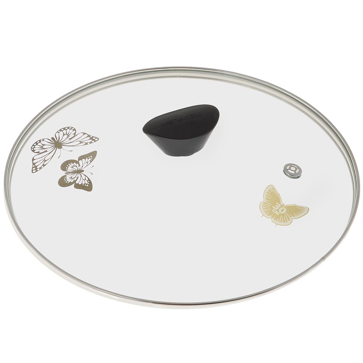 Крышка стеклянная Frybest. Диаметр 30 смGL30FКрышка Frybest изготовлена из термостойкого стекла. Обод, выполненный из высококачественной нержавеющей стали, защищает крышку от повреждений, а ручка, изготовленная из бакелита, защищает ваши руки от высоких температур. Крышка удобна в использовании, позволяет контролировать процесс приготовления пищи. Изделие оснащено усиленным пароотводом, благодаря чему эффективно удаляется избыточное давление. Крышка украшена изображением бабочек. Высота крышки (с учетом ручки): 6,5 см.