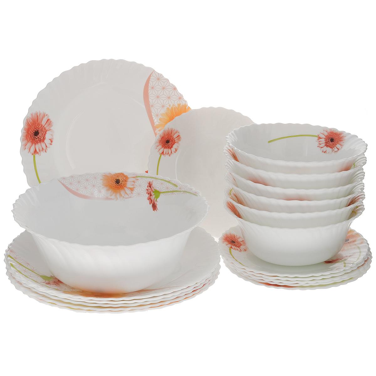 Набор столовой посуды Mayer & Boch, 19 предметов24101Набор столовой посуды Mayer & Boch выполнен из стекла высокого качества и состоит из 12 плоских и 7 глубоких тарелок разных диаметров. Изделия оформлены изящным цветочным рисунком и волнистыми краями. Столовый набор Mayer & Boch сочетает в себе изысканный дизайн с максимальной функциональностью. В набор входит: - 6 круглых плоских тарелок - 19 см х 19 см х 1,5 см; - 6 круглых плоских тарелок - 25,4 см х 25,4 см 2,5 см; - 6 круглых глубоких тарелок - 17,8 см х 17,8 см х 7 см; - 1 круглая глубокая тарелка - 22,9 см х 22,9 см х 9 см. Такой набор будет уместен на любой кухне и прекрасно подойдет для сервировки праздничного стола, а также станет приятным подарком родным и близким людям. Тарелки можно мыть в посудомоечной машине и держать в холодильнике. Не использовать на газовых плитах и открытом огне!