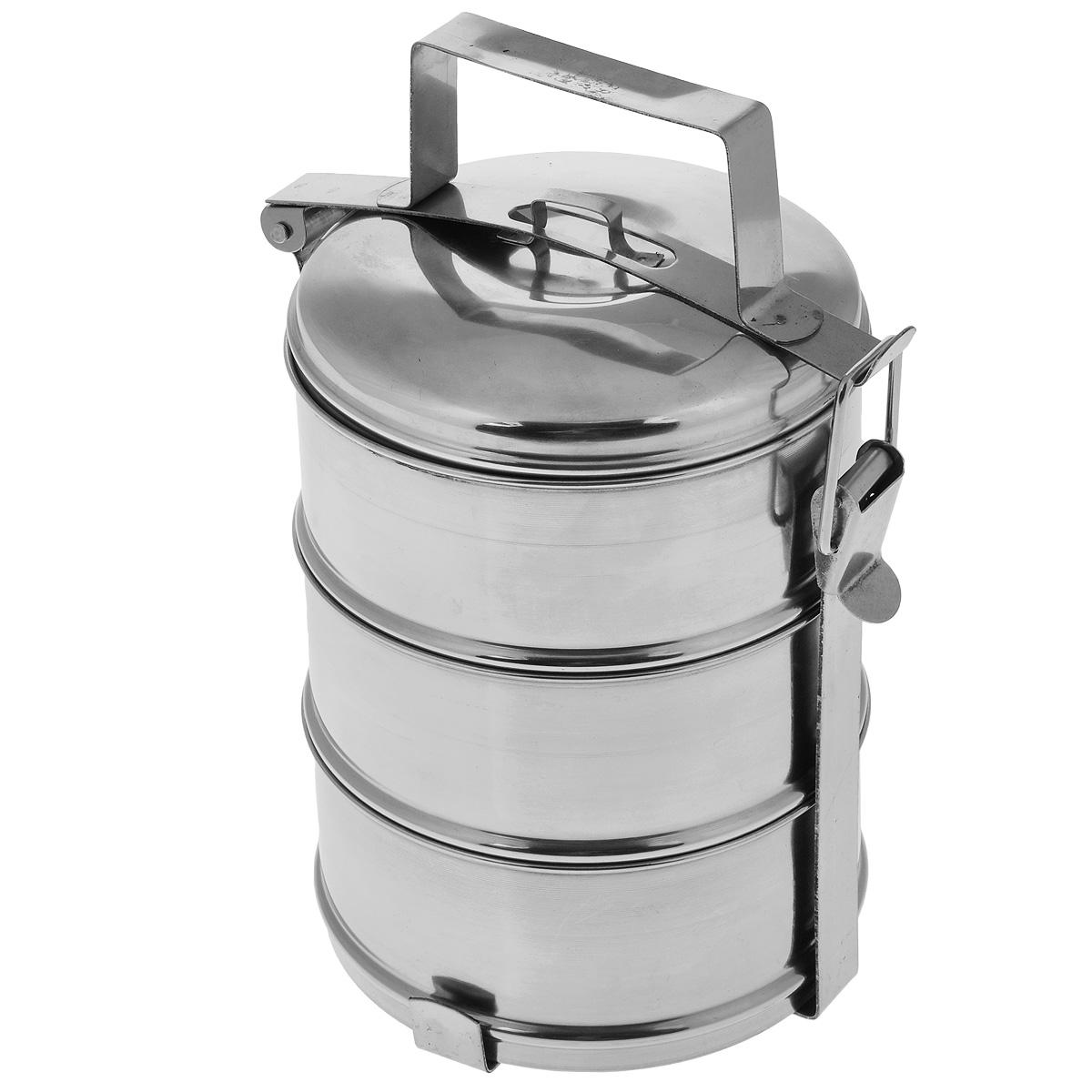 Ланч-бокс Padia, 14 см х 26 см, 3 контейнера6800-02Ланч-бокс Padia станет незаменимой вещью для офисных работников, водителей, путешественников и туристов. Изделие представляет собой 3 круглых контейнера, изготовленных из нержавеющей стали и предназначенных для переноски и хранения пищевых продуктов. Для удобства и компактности контейнеры вставляются один в другой и закрываются сверху крышкой. Ланч-бокс оснащен механизмом, благодаря которому все контейнеры фиксируются в одном положении и во время транспортировки не падают. Такой ланч-бокс идеален для пикников и путешествий. Вы можете носить в нем обеды и завтраки, супы, закуски, фрукты, овощи и другое. Размер одного контейнера: 14 см х 14 см х 6,5 см. Общий размер ланч-бокса (с учетом крышки): 14 см х 14 см х 26 см.