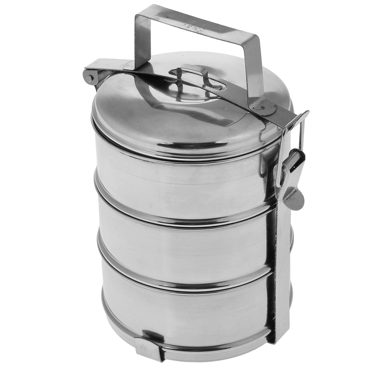Ланч-бокс Padia, 16 х 27 см, 3 контейнера6800-02Ланч-бокс Padia станет незаменимой вещью для офисных работников, водителей, путешественников и туристов. Изделие представляет собой 3 круглых контейнера, изготовленных из нержавеющей стали и предназначенных для переноски и хранения пищевых продуктов. Для удобства и компактности контейнеры вставляются один в другой и закрываются сверху крышкой. Ланч-бокс оснащен механизмом, благодаря которому все контейнеры фиксируются в одном положении и во время транспортировки не падают. Такой ланч-бокс идеален для пикников и путешествий. Вы можете носить в нем обеды и завтраки, супы, закуски, фрукты, овощи и другое. Размер одного контейнера: 16 см х 16 см х 7 см. Общий размер ланч-бокса (с учетом крышки): 16 см х 16 см х 27 см. Объем одного бокса: 1 литр.