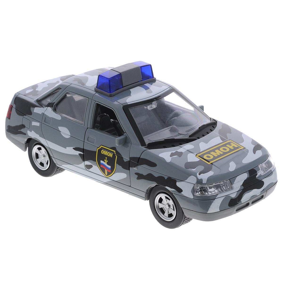 Машинка инерционная ТехноПарк Lada 110: ОМОНA553-H11063Инерционная машинка ТехноПарк Lada 110: ОМОН, выполненная из пластика и металла, станет любимой игрушкой вашего малыша. Игрушка представляет собой модель автомобиля ОМОНа марки Lada 110. Дверцы кабины, багажного отделения, а также капот открываются. При нажатии на кнопку на крыше модели замигают фары и проблесковые маячки и раздастся звук сирены. Игрушка оснащена инерционным ходом. Машинку необходимо отвести назад, затем отпустить - и она быстро поедет вперед. Прорезиненные колеса обеспечивают надежное сцепление с любой гладкой поверхностью. Ваш ребенок будет часами играть с этой машинкой, придумывая различные истории. Порадуйте его таким замечательным подарком! Машинка работает от батареек (товар комплектуется демонстрационными).