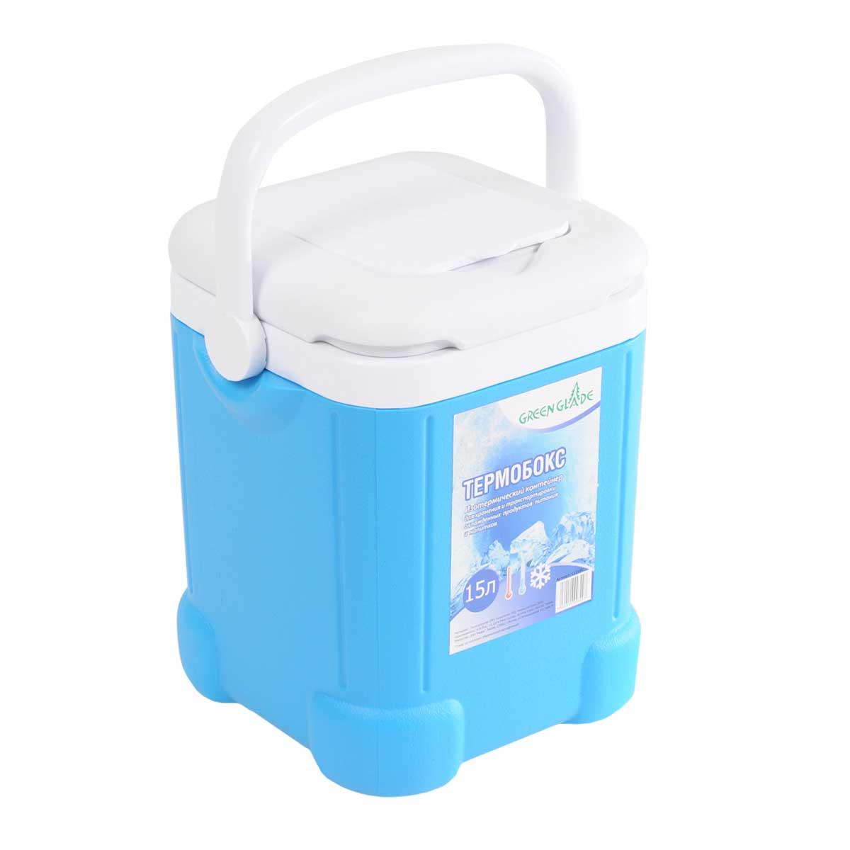 Контейнер изотермический Green Glade, цвет: голубой, 15 лС12150Легкий и прочный изотермический контейнер Green Glade предназначен для сохранения определенной температуры продуктов во время длительных поездок. Корпус и крышка контейнера изготовлены из высококачественного пластика. Между двойными стенками находится термоизоляционный слой, который обеспечивает сохранение температуры. При использовании аккумулятора холода, контейнер обеспечивает сохранение продуктов холодными на 8-10 часов. Подвижная ручка делает более удобной переноску контейнера. Крышка имеет дополнительный небольшой отсек. Контейнер идеально подходит для отдыха на природе, пикников, туристических походов и путешествий. Контейнеры Green Glade можно использовать не только для сохранения холодных продуктов, но и для транспортировки горячих блюд. В этом случае аккумуляторы нагреваются в горячей воде (температура около 80° С) и превращаются в аккумуляторы тепла. Подготовленные блюда перед транспортировкой подогреваются и горячими укладываются в...