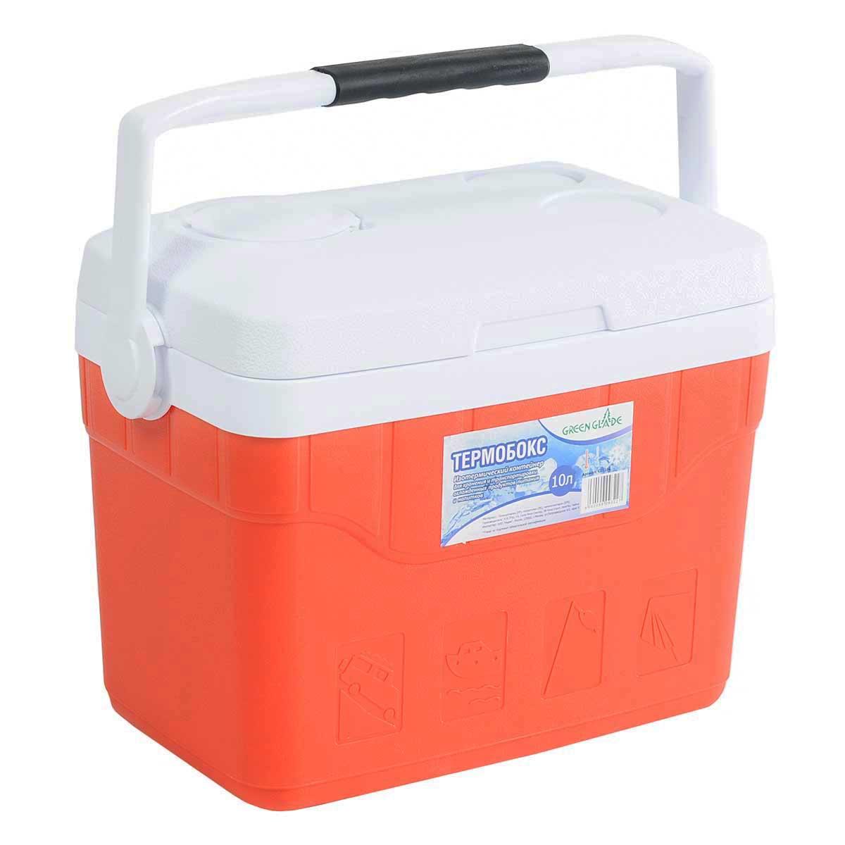Контейнер изотермический Green Glade, цвет: красный, 10 лС11100Легкий и прочный изотермический контейнер Green Glade предназначен для сохранения определенной температуры продуктов во время длительных поездок. Корпус и крышка контейнера изготовлены из высококачественного пластика. Между двойными стенками находится термоизоляционный слой, который обеспечивает сохранение температуры. При использовании аккумулятора холода, контейнер обеспечивает сохранение продуктов холодными на 8-10 часов. Подвижная ручка делает более удобной переноску контейнера. Крышка может быть использована в качестве подноса. В ней имеются три углубления для стаканчиков. Контейнер идеально подходит для отдыха на природе, пикников, туристических походов и путешествий. Объем контейнера: 10 л. Размер контейнера: 35 см х 30 см х 20 см.