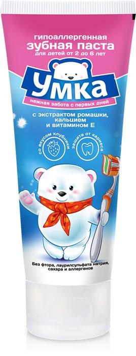 Умка Детская зубная паста, со вкусом клубники, от 2 до 6 лет, 100 г