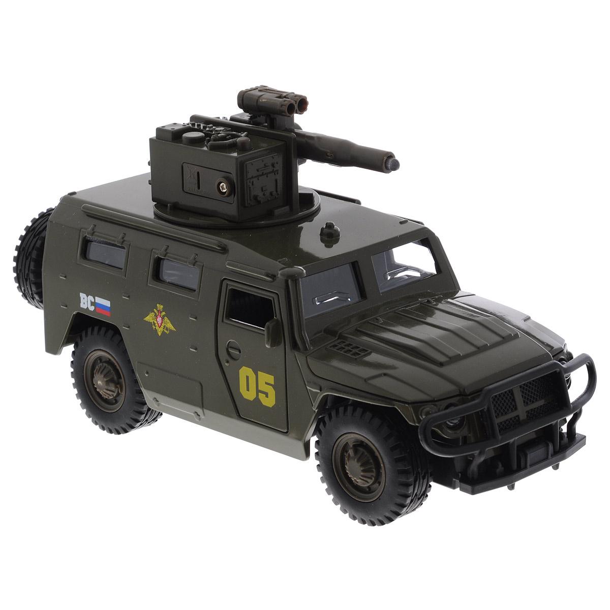 ТехноПарк Машинка ГАЗ ТигрCT12-392-G1Машинка ТехноПарк ГАЗ Тигр, выполненная из металла и пластика, станет любимой игрушкой вашего малыша. Игрушка представляет собой военный внедорожник ГАЗ Тигр, оснащенный открывающимися дверьми, капотом и багажником, а также вращающейся башней с пушкой. При нажатии кнопки на пушке кончик дула начинает светиться, при этом слышны звуки стрельбы и команды Огонь! В атаку!. Прорезиненные колеса обеспечивают надежное сцепление с любой поверхностью пола. Ваш ребенок будет часами играть с этой машинкой, придумывая различные истории. Порадуйте его таким замечательным подарком! Машинка работает от батареек (товар комплектуется демонстрационными).