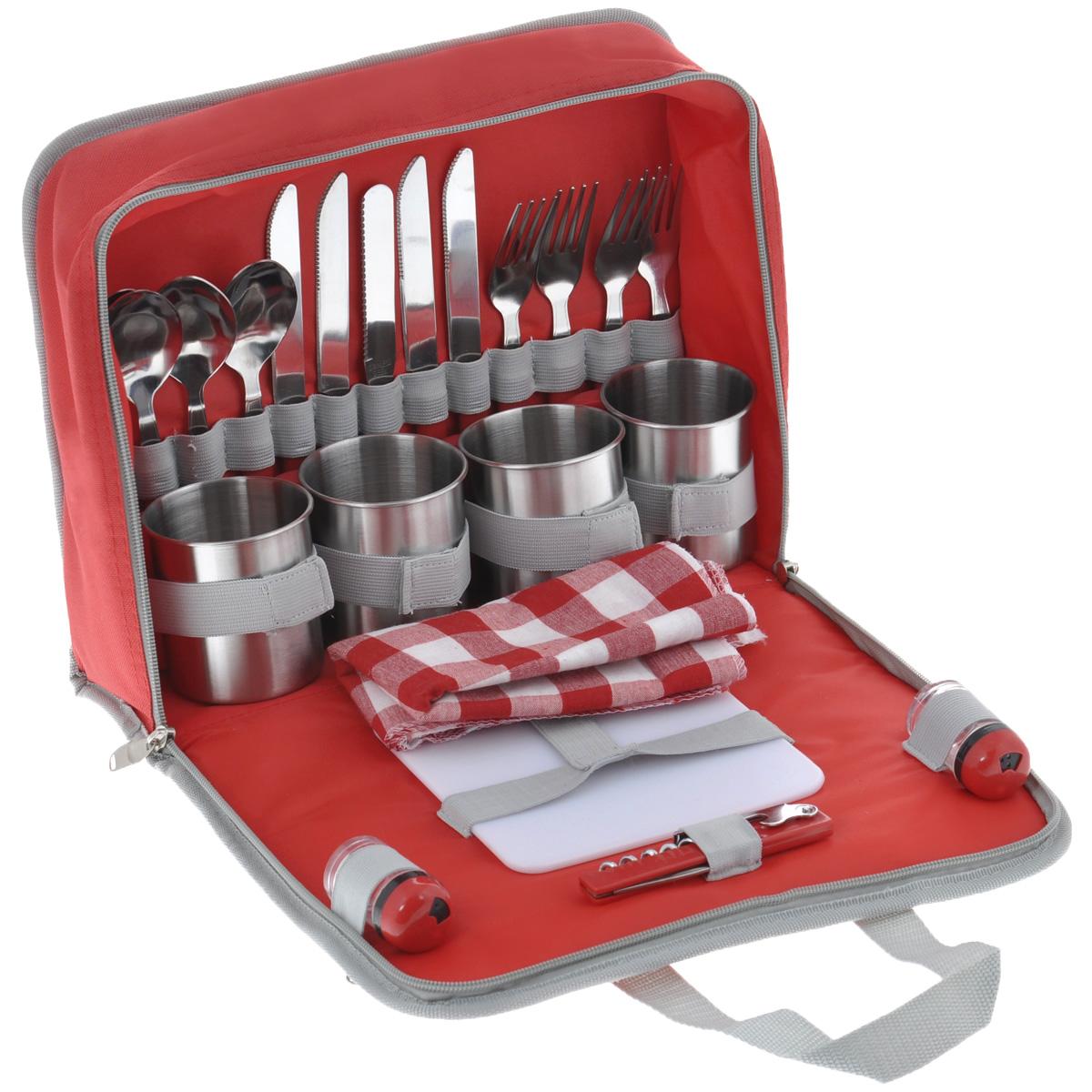 Набор для пикника Green Glade, цвет: красный, 26 предметовT3044Набор для пикника Green Glade содержит всю необходимую посуду для пикника и комфортного отдыха на природе. В набор входит: - нож (4 шт), - вилка (4 шт), - ложка (4 шт), - чашка (4 шт), - салфетка (4 шт), - солонка, - перечница, - нож для сыра/масла, - складной нож со штопором, - пластиковая разделочная доска. Столовые приборы и кружки изготовлены из полированной нержавеющей стали с пластиковыми ручками красного цвета. Салфетки выполнены из хлопка с принтом в клетку. Квадратная разделочная доска сделана из прочного пластика белого цвета, солонка и перечница - из прозрачного пластика. Все приборы компактно помещаются в специальную сумку из полиэстера, сумка закрывается на застежку-молнию; оснащена двумя удобными ручками для переноски и двумя вшитыми кармашка на молнии для хранения аксессуаров. Длина вилки/ложки: 18,5 см. Длина ножа: 21 см. Диаметр кружки (по верхнему краю): 7,5 см. ...