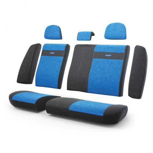 Авточехлы Autoprofi Трансформер, велюр, цвет: черный, синий, 13 предметовTRS-002 BK/BLЧехлы Autoprofi Трансформер - новая модель автомобильных чехлов. Главной особенностью их стала модульная конструкция, благодаря которой можно укомплектовать 5-, 7- или 8-местный автомобиль. Запатентованная конструкция чехлов с молниями и торцевыми клапанами позволит их адаптировать в автомобилях с любым кузовом - седана, минивена, кроссовера, внедорожника или универсала. При этом специальные клапаны закрывают торцы спинок и подлокотников, позволяя их складывать и обеспечивая плотное прилегание даже на нестандартных креслах. Немаловажно, что данная серия чехлов на автомобильное сиденье оснащена распускаемым боковым швом, что позволяет их использовать в автомобилях с боковой подушкой безопасности. Выполнены из велюра. Из прежних наработок, полюбившихся автомобилистам, в данных чехлах сохранилось крепление крючками и липучками, которые прочно фиксируют чехлы на сиденье. Чехлы для переднего ряда серии Трансформер сочетаются со всеми чехлами заднего ряда этой серии. ...