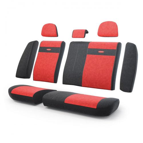 Авточехлы Autoprofi Трансформер, велюр, цвет: черный, красный, 13 предметов