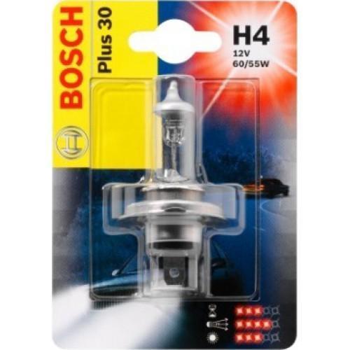 Лампа Bosch Plus 30 H4 12V 19873010021987301002Новые лампы Bosch для галогенных фар освещают дорогу интенсивным белым светом, который очень близок по свойствам к дневному освещению.Благодаря этому глаза водителя не теряют фокусировки и меньше устают даже во время долгих поездок в темное время суток. Новые лампы отличаются высокой яркостью и могут давать до 50% больше света, чем стандартные галогенные фары. Лампы Bosch доступны в вариантах H1, H4 и H7. Серебряное покрытие ламп H4 и H7 делает их едва заметными за стеклами выключенных фар. Новые лампы выглядят наиболее эффектно в сочетании с фарами из прозрачного стекла и подчеркивают современный дизайн автомобилей. Увеличенная яркость и дальность освещения положительно сказывается на безопасности движения. В темное время суток или в сложных погодных условиях, таких как ливень или густой туман, водитель замечает опасную ситуацию намного раньше и на большем расстоянии, при этом лучше заметен и сам автомобиль с фарами Bosch. Напряжение: 12 вольт