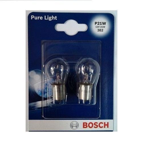 Лампа накалив. д/фар/фонар. Bosch P21W 2шт1987301017Новые лампы Bosch освещают дорогу интенсивным белым светом, который очень близок по свойствам к дневному освещению.Благодаря этому глаза водителя не теряют фокусировки и меньше устают даже во время долгих поездок. Новые лампы выглядят наиболее эффектно в сочетании с фарами из прозрачного стекла и подчеркивают современный дизайн автомобилей. В темное время суток или в сложных погодных условиях, таких как ливень или густой туман, водитель замечает опасную ситуацию намного раньше и на большем расстоянии, при этом лучше заметен и сам автомобиль с фарами Bosch. Напряжение: 12 вольт