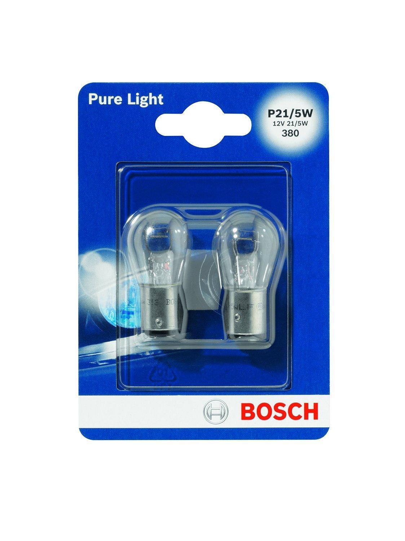 Лампа Bosch P21/5W 2шт 19873010161987301016Новые лампы Bosch освещают дорогу интенсивным белым светом, который очень близок по свойствам к дневному освещению.Благодаря этому глаза водителя не теряют фокусировки и меньше устают даже во время долгих поездок. Новые лампы выглядят наиболее эффектно в сочетании с фарами из прозрачного стекла и подчеркивают современный дизайн автомобилей. В темное время суток или в сложных погодных условиях, таких как ливень или густой туман, водитель замечает опасную ситуацию намного раньше и на большем расстоянии, при этом лучше заметен и сам автомобиль с фарами Bosch. Напряжение: 12 вольт