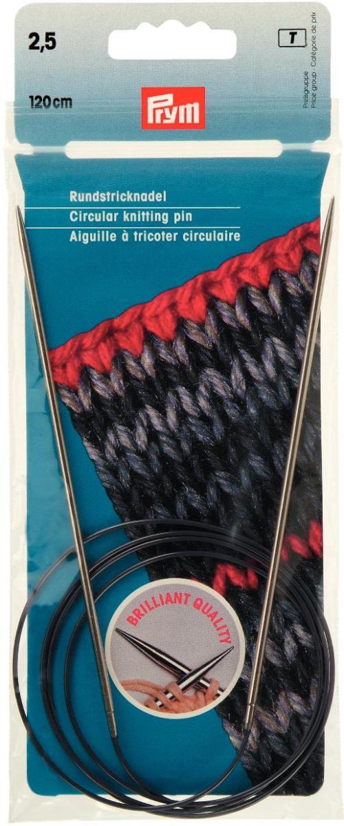 Спицы Prym, металлические, круговые, диаметр 2,5 мм, длина 120 см212117Спицы для вязания Prym изготовлены из металла и скреплены гибким пластиковым шнуром. Они прочные и легкие. Круговые спицы наиболее удобны для выполнения изделий, не имеющих швов. Короткими круговыми спицами вяжут бейки горловины, воротники-гольф, длинными спицами можно вязать по кругу целые модели. Вы сможете вязать для себя, делать подарки друзьям. Рукоделие всегда считалось изысканным, благородным делом. Работа, сделанная своими руками, долго будет радовать вас и ваших близких. Диаметр: 2,5 мм. Материал: металл, пластик.