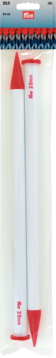 Спицы Prym, пластиковые, прямые, цвет: белый, красный, диаметр 20 мм, длина 40 см, 2 шт218235Прямые спицы Prym с наконечниками предназначены для вязания объемных вещей из толстой, объемной пряжи. Спицы изготовлены из облегченного пластика высокого качества. Вы сможете вязать для себя и делать подарки друзьям. Рукоделие всегда считалось изысканным, благородным делом. Работа, сделанная своими руками, долго будет радовать вас и ваших близких. Диаметр: 20 мм. Материал: пластик.