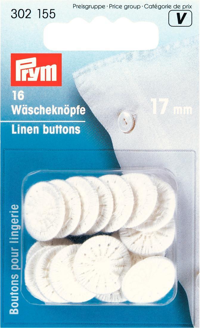 Пуговицы бельевые Prym, обтянутые нитками, цвет: белый, диаметр 17 мм, 16 шт302155Однотонные пуговицы Prym изготовлены из алюминия и обтянуты хлопковыми нитками. Изделия предназначены для постельного белья. Пуговицы устойчивы к кипячению. В наборе - 16 пуговиц. Диаметр пуговиц: 17 мм.