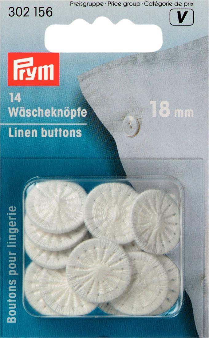 Пуговицы бельевые Prym, цвет: белый, диаметр 18 мм, 14 шт. 302156302156Однотонные пуговицы Prym изготовлены из алюминия и обтянуты хлопковыми нитками. Изделия предназначены для постельного белья. Пуговицы устойчивы к кипячению. В наборе - 14 пуговиц. Диаметр пуговиц: 18 мм.