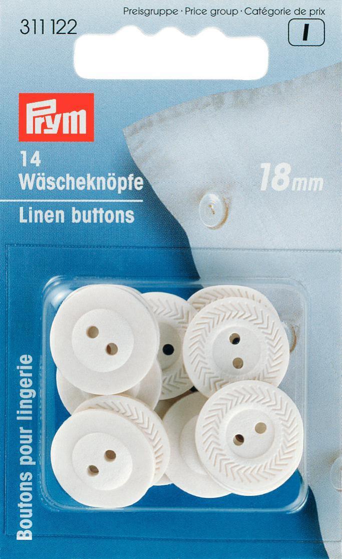 Пуговицы бельевые Prym, цвет: белый, диаметр 18 мм, 14 шт311122Однотонные пуговицы Prym изготовлены из вулканизированного волокна и предназначены для постельного белья. Пуговицы устойчивы к кипячению. Изделия оснащены двумя отверстиями для пришивания к ткани и оформлены рельефным узором. В наборе - 15 пуговиц. Диаметр пуговиц: 18 мм. Материал: вулканизированное волокно.