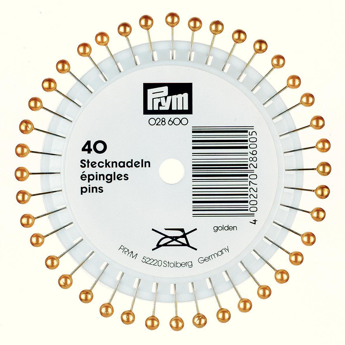 Набор булавок Prym, цвет: золотистый, длина 4 см, 40 шт028600Набор Prym состоит из 40 булавок с жемчужными головками золотистого цвета. Изделия используются для шитья, чтобы закалывать, прикалывать куски мягких тканей и многое другое. Комплектация: 40 шт. Материал: сталь, стекло. Длина: 4 см.