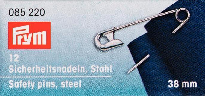 Булавки английские Prym, цвет: серебристый, 38 мм, 12 шт. 085220085220Английские булавки со спиралью Prym изготовлены из стали с защитой от ржавчины. Имеют покрытие серебристого цвета. В наборе - 12 булавок одного размера. Материал: сталь. Комплектация: 12 шт. Длина булавок: 38 мм.