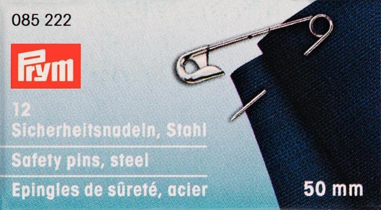 Булавки английские Prym, цвет: серебристый, 50 мм, 12 шт085222Английские булавки со спиралью Prym изготовлены из стали с защитой от ржавчины. Имеют покрытие серебристого цвета. В наборе - 12 булавок одного размера. Материал: сталь. Комплектация: 12 шт. Длина булавок: 50 мм.