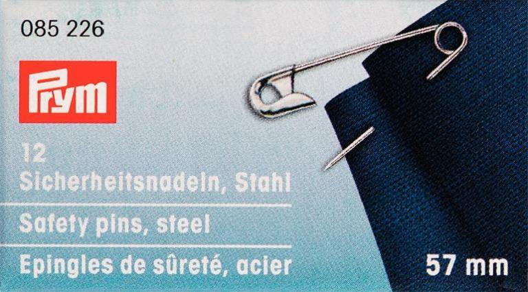 Булавки английские Prym, цвет: серебристый, 57 мм, 12 шт085226Английские булавки со спиралью Prym изготовлены из стали с защитой от ржавчины. Имеют покрытие серебристого цвета. В наборе - 12 булавок одного размера. Материал: сталь. Комплектация: 12 шт. Длина булавок: 57 мм.