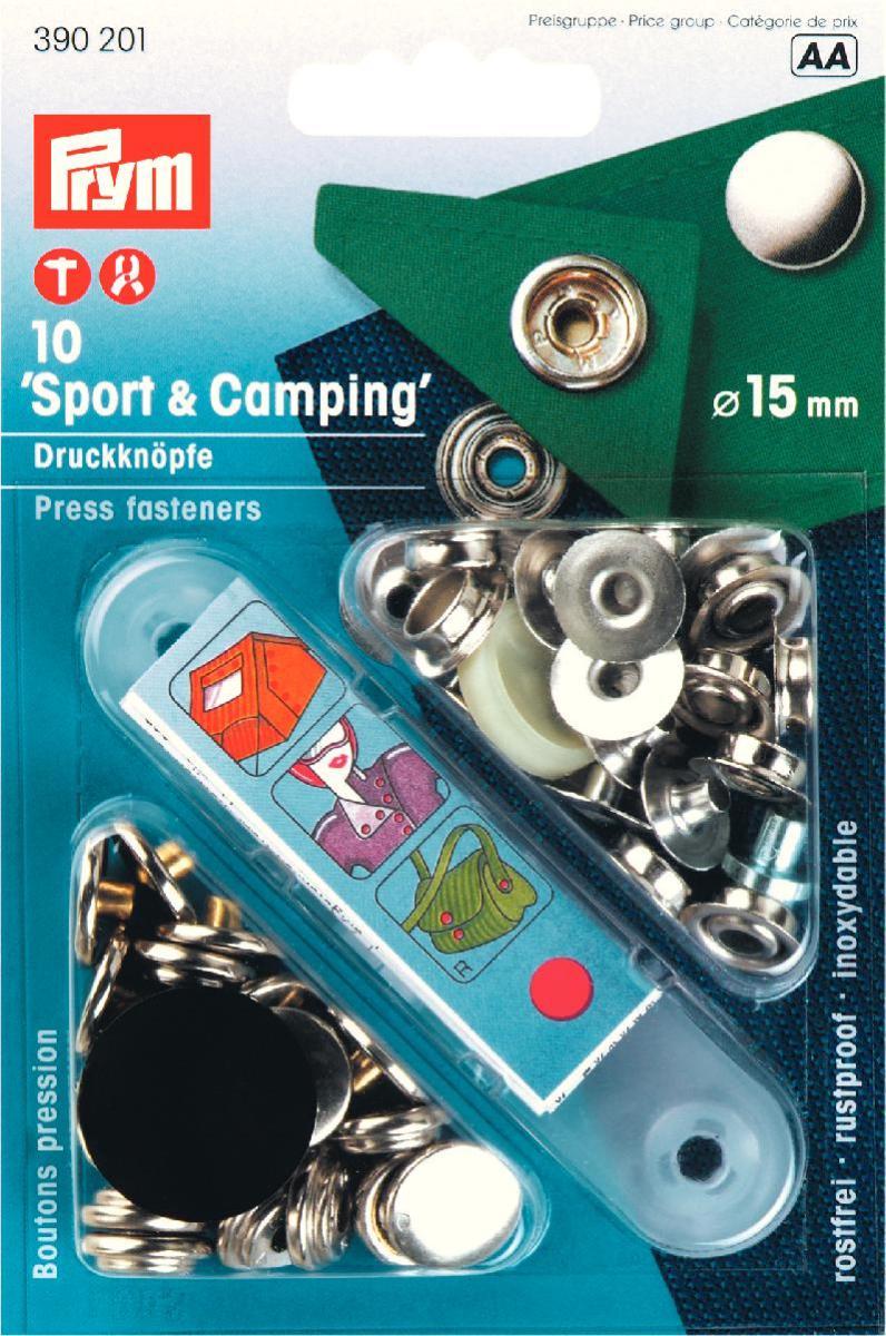Кнопки Prym Sport & Camping, цвет: серебристый, диаметр 15 мм, 10 шт390201Кнопки Prym Sport & Camping изготовлены из латуни. Оснащены отверстием для фиксации. Нижняя часть отбортована. В комплекте - 10 пар кнопок и пластиковый инструмент для установки. Используются при ремонте и пошиве одежды. Идеально подходит для сумок, верхней и другой одежды из тяжелой ткани. Диаметр кнопок: 15 мм.