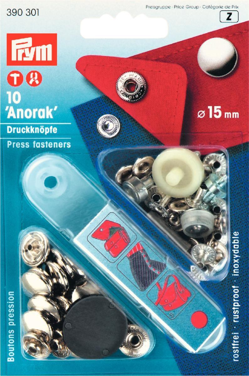 Кнопки Prym Anorak, цвет: серебристый, диаметр 15 мм, 10 шт390301Кнопки Prym Anorak изготовлены из латуни. Оснащены отверстием для фиксации. Нижняя часть отбортована. В комплекте - 10 пар кнопок и пластиковый инструмент для установки. Используются при ремонте и пошиве одежды. Идеально подходит для одежды из ткани средней плотности. Диаметр кнопок: 15 мм.
