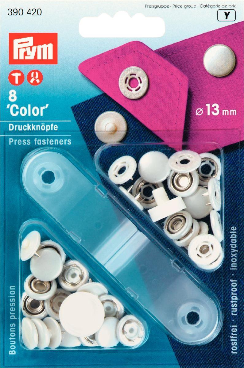 Кнопки Prym Color, цвет: белый, диаметр 13 мм, 8 шт390420Кнопки Prym Color изготовлены из латуни с пластиковым покрытием. Оснащены отверстием для фиксации. Нижняя часть отбортована. В комплекте - 8 пар кнопок и пластиковый инструмент для установки. Используются при ремонте и пошиве одежды. Идеально подходит для блузок и другой одежды из легкой ткани. Диаметр кнопок: 13 мм.