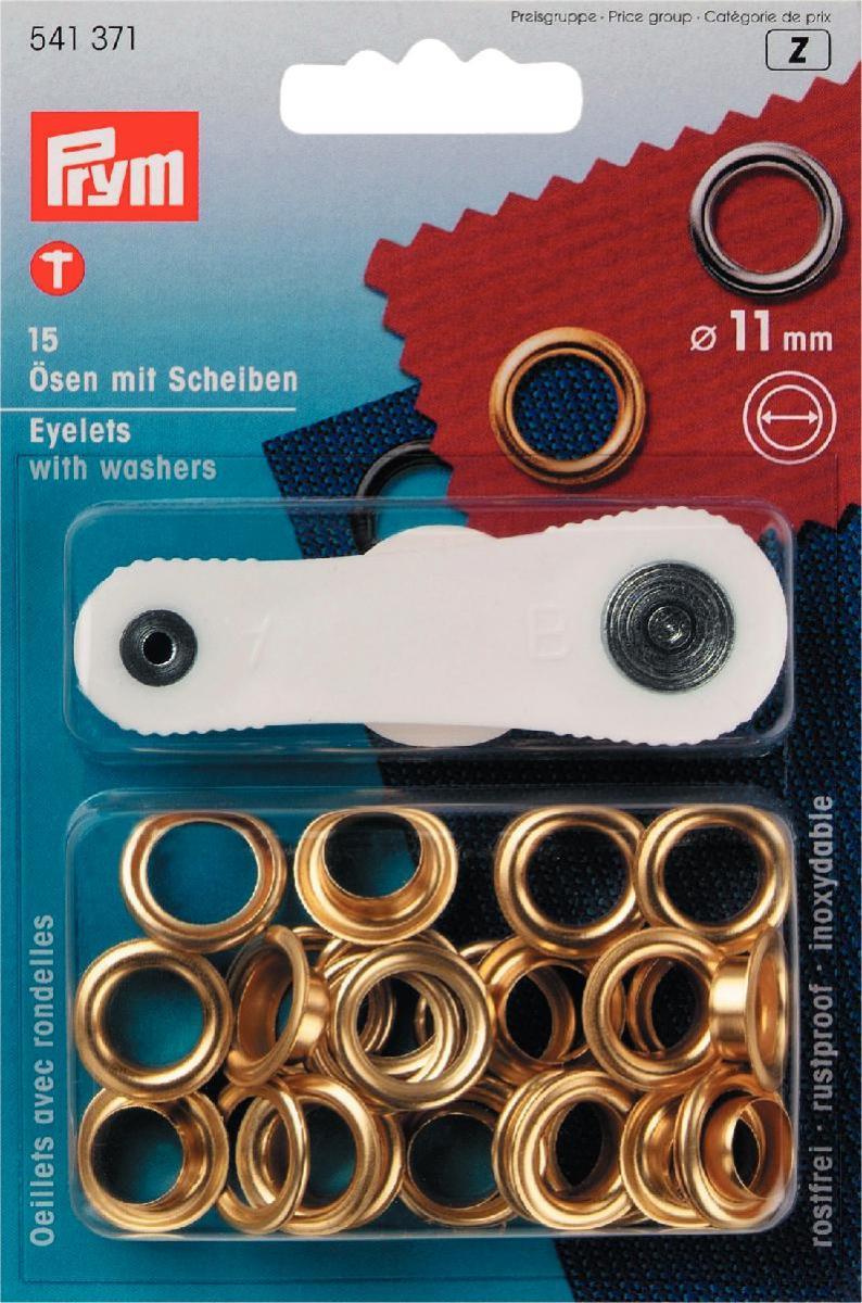 Люверсы Prym, цвет: золотистый, диаметр 11 мм, 15 шт541371Люверсы Prym выполнены из нержавеющей латуни и предназначены для установки в кожгалантерейные, обувные, швейные и другие изделия, для укрепления краев отверстий, использующихся для продевания веревок, шнуров, тесьмы, тросов. В наборе 15 комплектов люверсов и пластиковый инструмент для установки. Диаметр: 11 мм.