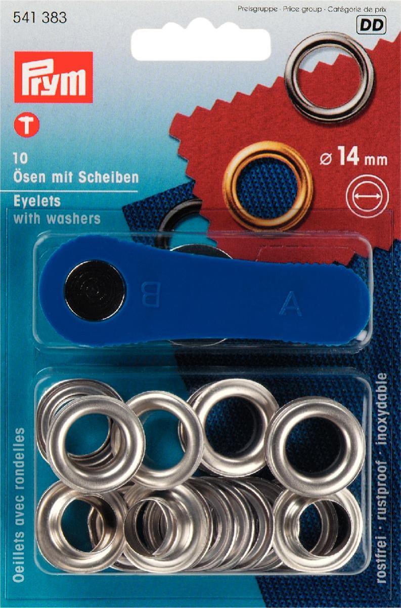 Люверсы Prym, цвет: серебристый, диаметр 14 мм, 10 шт541383Люверсы Prym выполнены из нержавеющей латуни и предназначены для установки в кожгалантерейные, обувные, швейные и другие изделия, для укрепления краев отверстий, использующихся для продевания веревок, шнуров, тесьмы, тросов. В наборе 10 комплектов люверсов и пластиковый инструмент для установки. Диаметр: 14 мм.