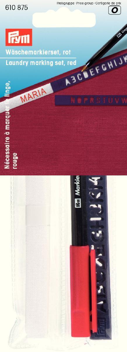 Набор для маркировки белья Prym, 3 предмета. 610875610875Набор Prym предназначен для маркировки белья. В состав входит: - приутюживающаяся белая лента, - перманентный маркер красного цвета, - шаблоны. С помощью набора Prym вы сможете быстро и аккуратно промаркировать белье. Ширина ленты: 1 см. Длина ленты: 3 м.