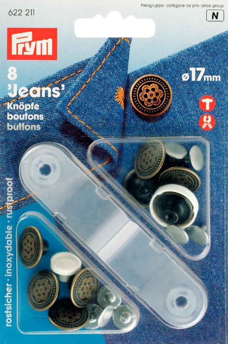 Кнопки Prym Jeans, цвет: латунный, 17 мм, 8 шт622211Кнопки Prym Jeans изготовлены из латуни. Оснащены отверстием для фиксации. Нижняя часть отбортована. Шляпка оформлена рельефным рисунком. В комплекте - 8 пар кнопок и пластиковый инструмент для установки. Используются при ремонте и пошиве одежды. Идеально подходит для одежды из джинсовой ткани. Диаметр кнопок: 17 мм.