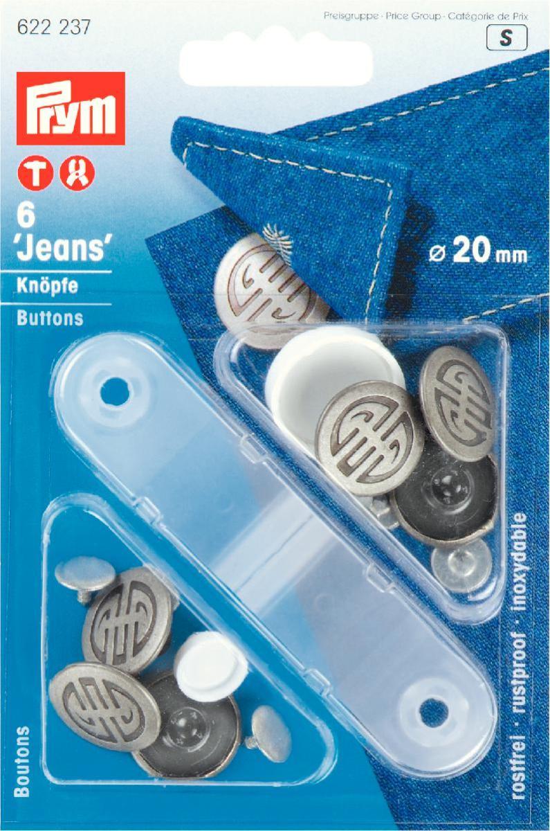 Кнопки Prym Jeans, цвет: серебряный, 20 мм, 6 шт622237Кнопки Prym Jeans изготовлены из латуни. Оснащены отверстием для фиксации. Нижняя часть отбортована. Шляпка оформлена рельефным рисунком. В комплекте - 6 пар кнопок и пластиковый инструмент для установки. Используются при ремонте и пошиве одежды. Идеально подходит для одежды из джинсовой ткани. Диаметр кнопок: 20 мм.