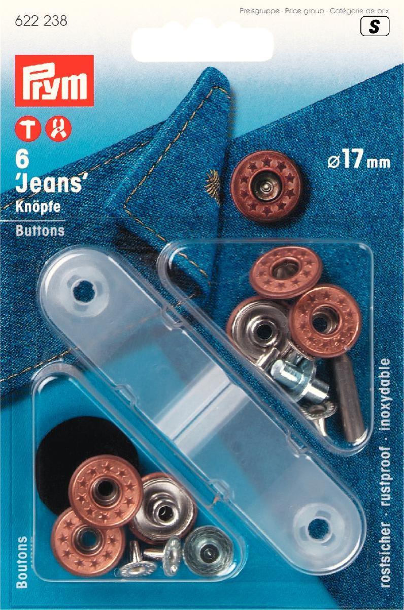 Кнопки Prym Jeans, цвет: бронзовый, 17 мм, 6 шт622238Кнопки Prym Jeans изготовлены из латуни. Оснащены отверстием для фиксации. Нижняя часть отбортована. Шляпка оформлена рельефным рисунком. В комплекте - 6 пар кнопок и пластиковый инструмент для установки. Используются при ремонте и пошиве одежды. Идеально подходит для одежды из джинсовой ткани. Диаметр кнопок: 17 мм.