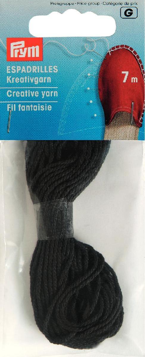 Нить декоративная для эспадрильи Prym, цвет: черный, толщина 1 мм, длина 7 м932601Декоративная нить Prym выполнена из 100% хлопка. Нить будет незаменимой при изготовлении эспадрильи. Эспадрильи - летняя обувь, матерчатые тапочки на верёвочной подошве из натуральных материалов. Толщина: 1 мм.