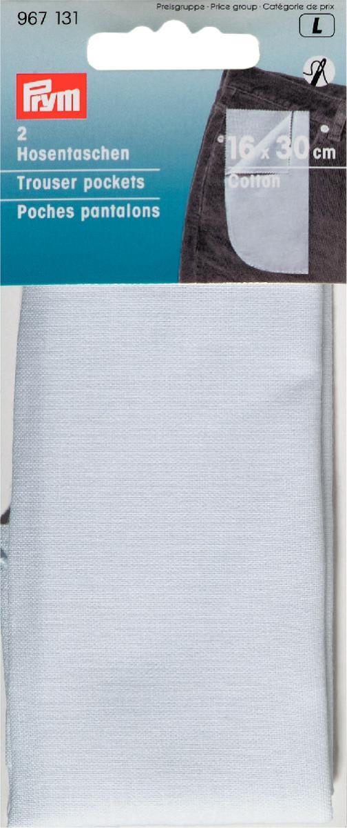 Карманы для брюк Prym, цвет: белый, 16 х 30 см, 2 шт967131Набор Prym состоит из двух карманов, изготовленных из 100% хлопка и оснащенных клеевой прослойкой. С помощью горячего утюга вы сможете быстро и без труда прикрепить карманы к брюкам. Для дополнительной прочности карманы можно еще и настрочить. Размер: 16 см х 30 см.