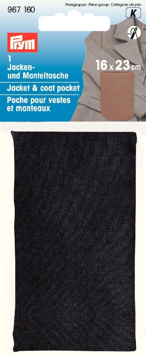 Карман для куртки и пальто Prym, цвет: черный, 16 см х 23 см967160Пришивной карман Prym изготовлен из 100% полиамида. Изделие подходит для куртки или пальто. Выполненный из прочного материала, карман прослужит вам долго. Размер: 16 см х 23 см.