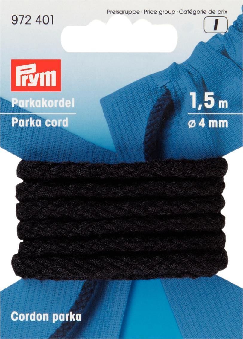 Шнур для парки Prym, цвет: черный, диаметр 4 мм, длина 1,5 м972401Шнур Prym выполнен из 100% полиакрила в виде сплетенных между собой нитей. Изделие можно использовать в качестве завязок для парки, штанов и других предметов одежды. Также шнур можно использовать для плетения ирландского кружева и декорирования в технике скрапбукинг. Диаметр шнурка: 4 мм.
