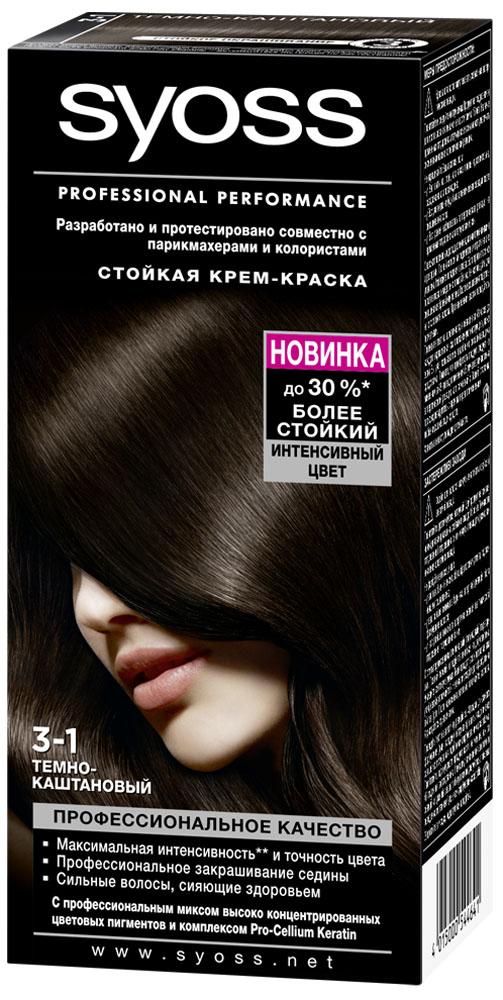 Syoss Color Краска для волос оттенок 3-1 Темно-каштановый, 115 мл9393112Откройте для себя профессиональное качество окрашивания с красками Syoss, разработанными и протестированными совместно с парикмахерами и колористами. Превосходный результат, как после посещения салона. Высокоэффективная формула закрепляет интенсивные цветовые пигменты глубоко внутри волоса, обеспечивая насыщенный, точный результат окрашивания и блеск волос, а также превосходное закрашивание седины. Кондиционер SYOSS «Защита Цвета- с комплексом Pro-Cellium Keratin и Провитамином Б5 способствует восстановлению волос изнутри – для сильных волос и стойкого, насыщенного цвета, полного блеска.
