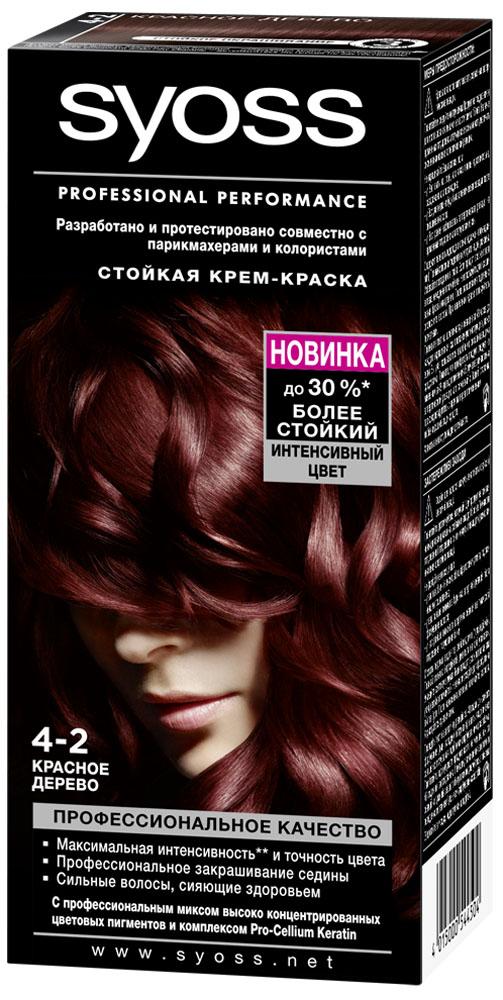 Syoss Color Краска для волос оттенок 4-2 Красное дерево, 115 мл93931171Откройте для себя профессиональное качество окрашивания с красками Syoss, разработанными и протестированными совместно с парикмахерами и колористами. Превосходный результат, как после посещения салона. Высокоэффективная формула закрепляет интенсивные цветовые пигменты глубоко внутри волоса, обеспечивая насыщенный, точный результат окрашивания и блеск волос, а также превосходное закрашивание седины. Кондиционер SYOSS «Защита Цвета- с комплексом Pro-Cellium Keratin и Провитамином Б5 способствует восстановлению волос изнутри – для сильных волос и стойкого, насыщенного цвета, полного блеска.