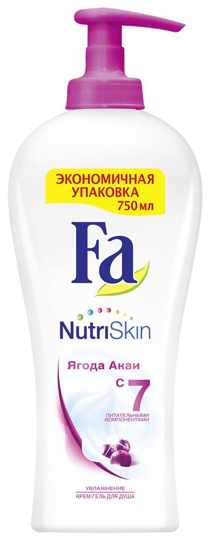 FA Гель для душа женский Nutri Skin Увлажнение Ягода акаи 750 мл, 750 мл12052922Откройте для себя ощущение невероятно нежной кожи с Fa NutriSkin. Fa NutriSkin Увлажнение – ягода Акаи: Увлажняющий крем-гель для душа содержит уникальный комплекс из 7-ми питательных компонентов и помогает Вашей коже оставаться необыкновенно мягкой и гладкой. Интригующий и вдохновляющий аромат ягоды Акаи обволакивает тело и пробуждает чувства. - pH нейтральный - Хорошая переносимость кожей - Протестировано дерматологами