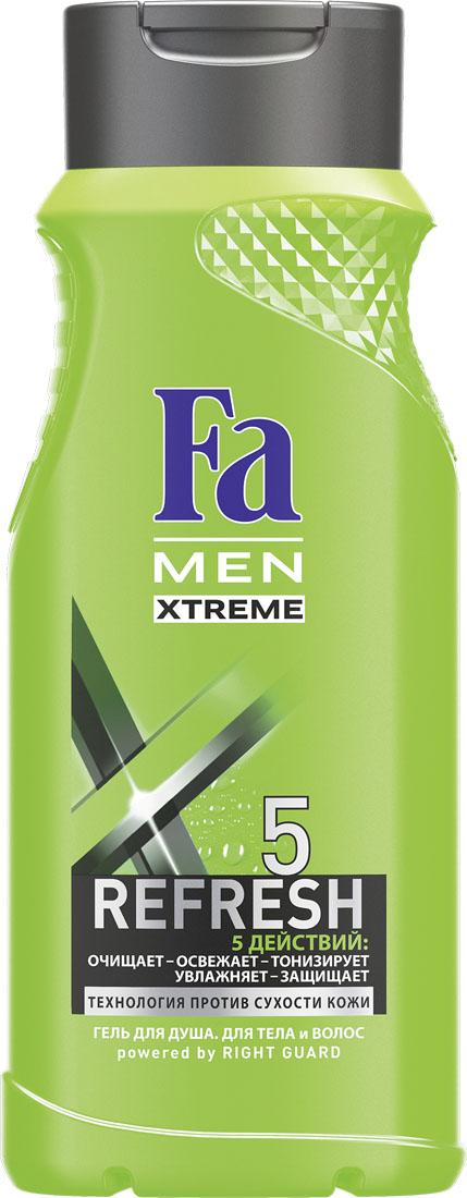 FA MEN Xtreme Гель для душа Refresh 5 , 250 мл1205270845Fa MEN Гель для душа Xtreme Refresh5. Почувствуй экстра свежесть и 5 комплексных действий в 1 Геле для душа: – глубокое очищение – длительная свежесть – тонизирующий эффект – увлажнение – защита кожи. Инновационная технология Против Сухости Кожи придает свежесть и увлажняет кожу, предотвращая ощущение сухости. Освежающий и бодрящий аромат для длительного эффекта свежести.