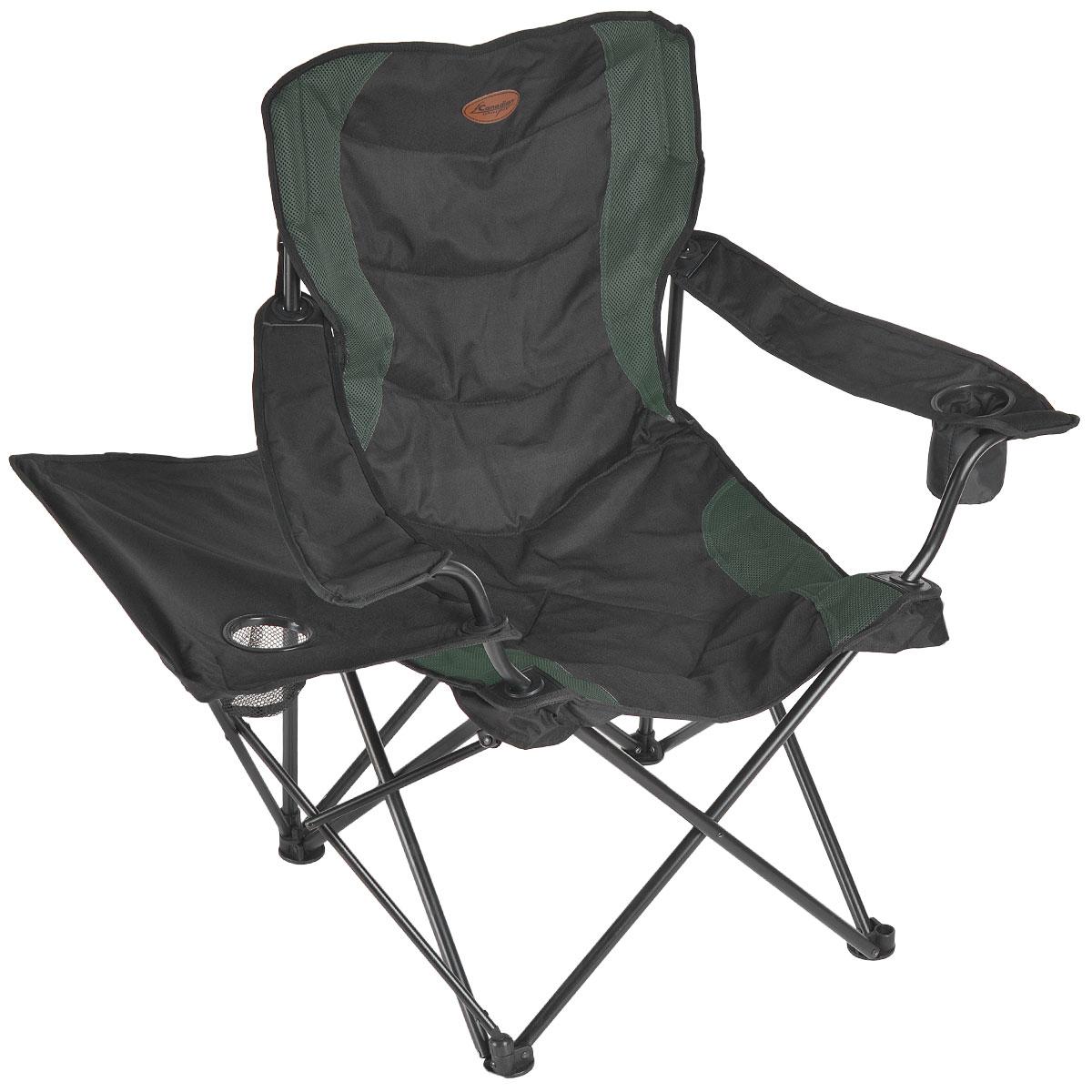 Кресло складное Canadian Camper CC-399T, цвет: зеленый, 58 см х 66 см х 107 см31100061Складное кресло Canadian Camper CC-399T с широким сиденьем и подлокотниками станет незаменимым предметом в походе, на природе, на рыбалке, а также на даче. На подлокотнике имеется отделение для бутылки или стакана. Кресло имеет прочный стальной каркас, оно легко собирается и разбирается и не занимает много места, поэтому подходит для транспортировки и хранения дома.